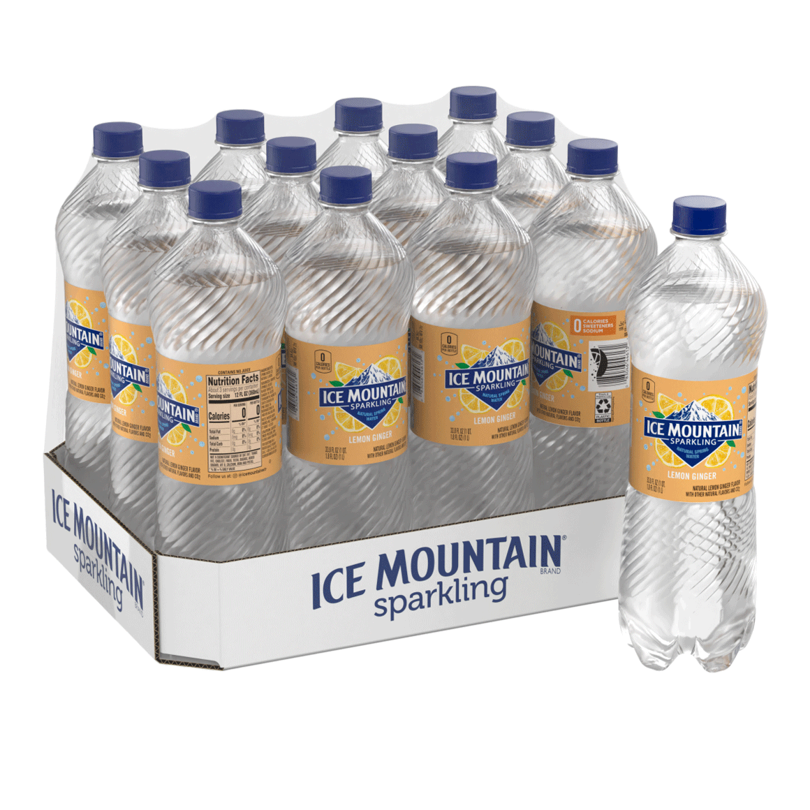 Ice Mountain® Brand Sparkling 100% Natural Spring Water - Lemon Ginger