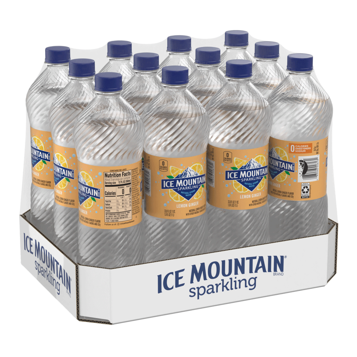 Ice Mountain® Brand Sparkling 100% Natural Spring Water - Lemon Ginger Image1