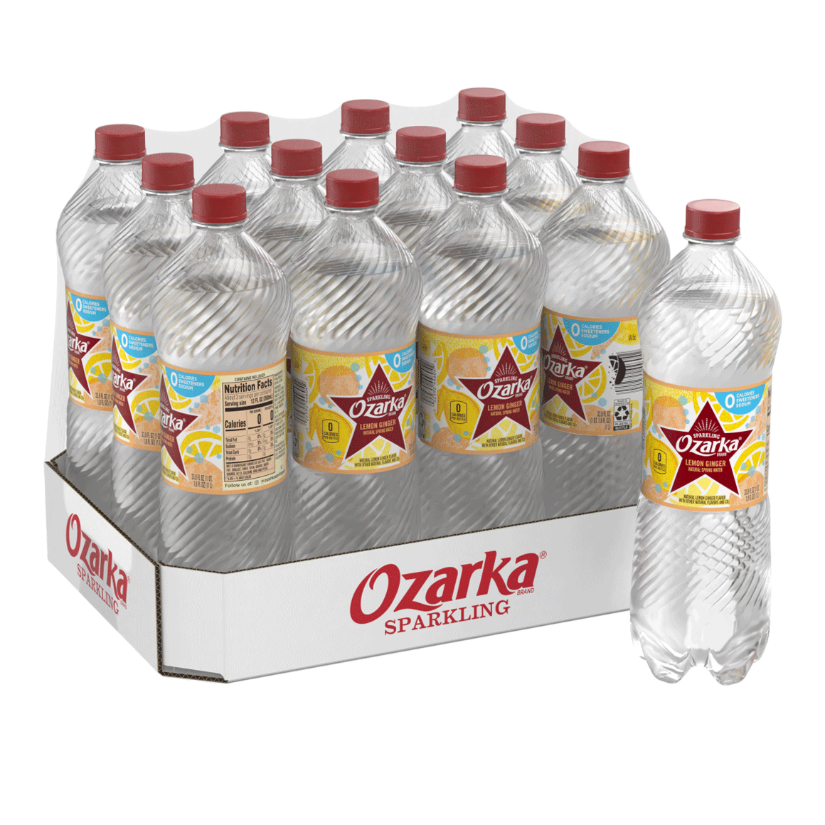 Ozarka® Brand Sparkling 100% Natural Spring Water - Lemon Ginger