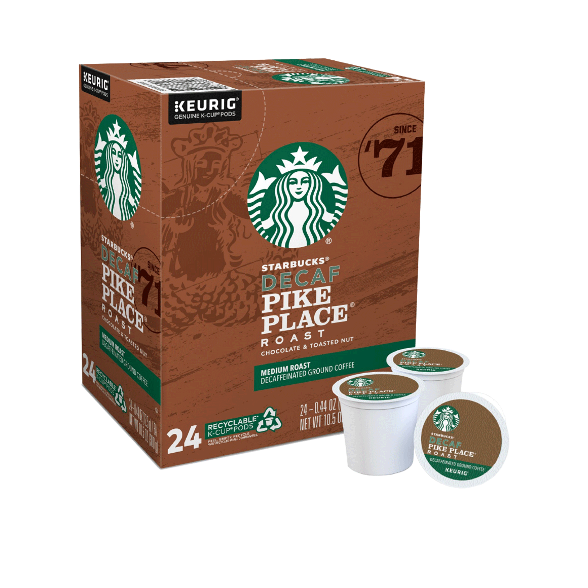 starbucks k cups decaf pike place 24 pack single serve coffee pods