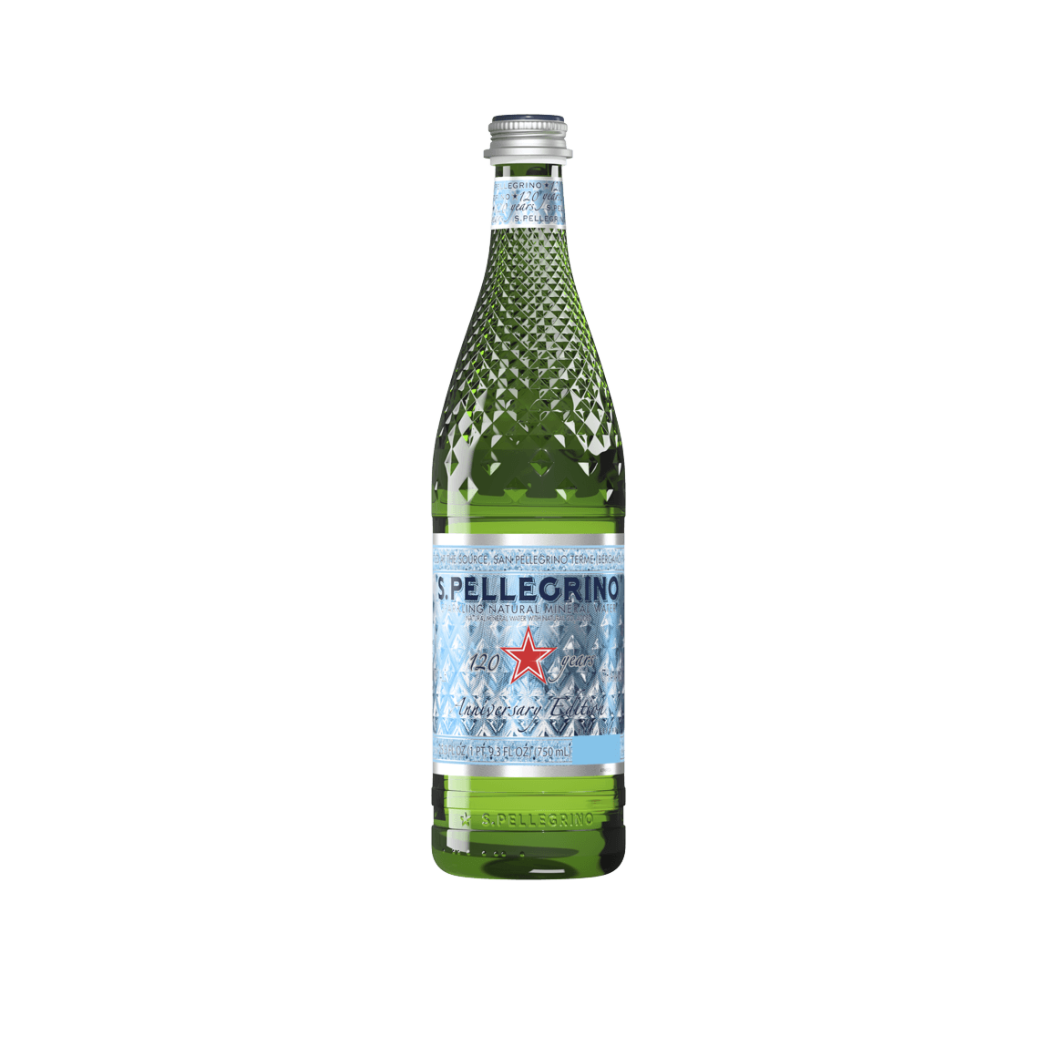 S.Pellegrino® Sparkling Natural Mineral Water - Limited Edition Diamond Glass Bottle - 750 ml (25.3 oz.) - Bottle - Case of 6